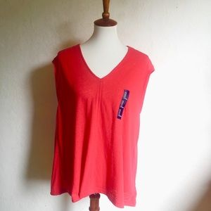 Gap Red Sleeveless Cotton/Poly Top XL